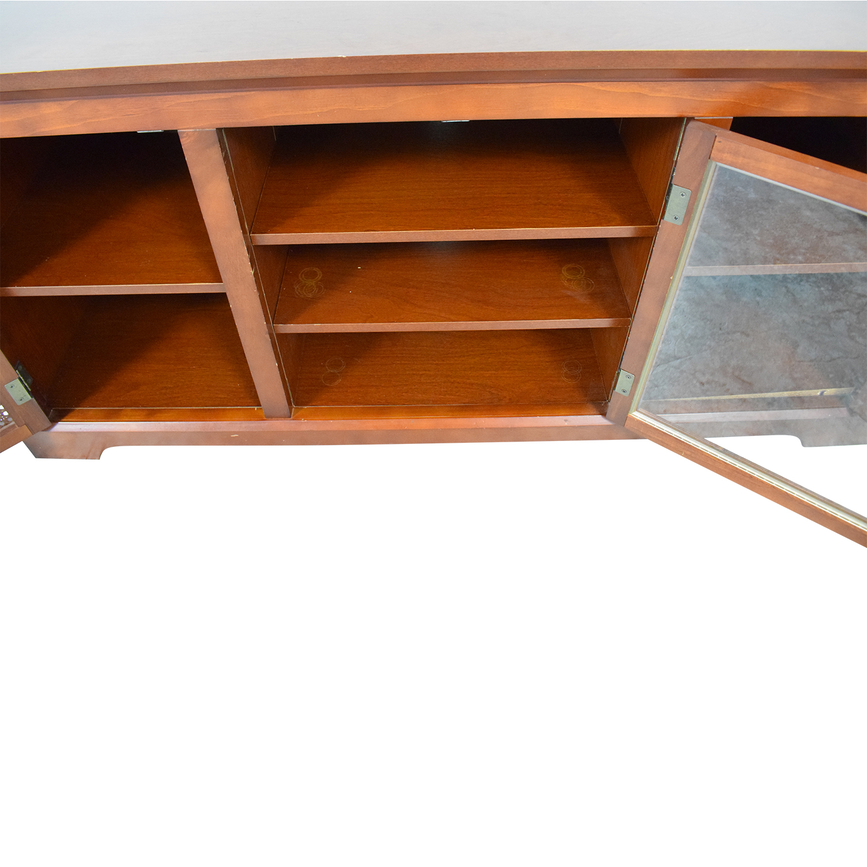 75 Off Glass And Wood Veneer Media Cabinet Storage