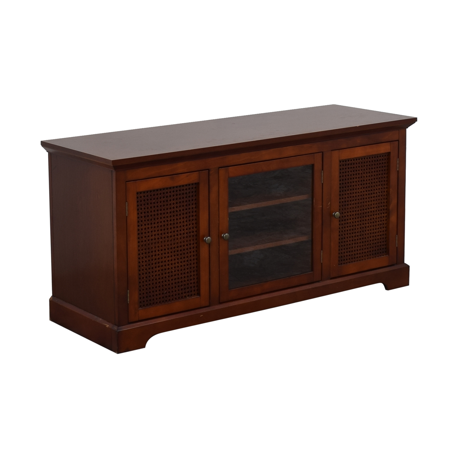 shop Glass and Wood Veneer Media Cabinet