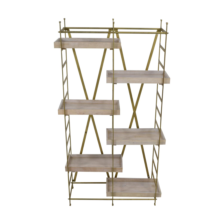 shop Safavieh Gold & Wood Adjustable Tray Shelf Bookcase Safavieh