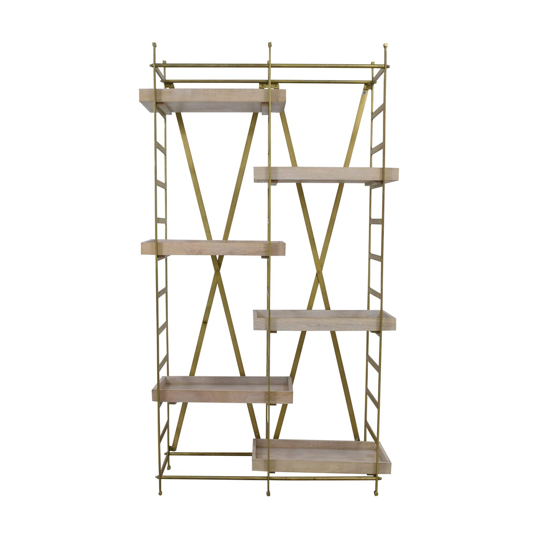 Safavieh Safavieh Gold & Wood Adjustable Tray Shelf Bookcase dimensions