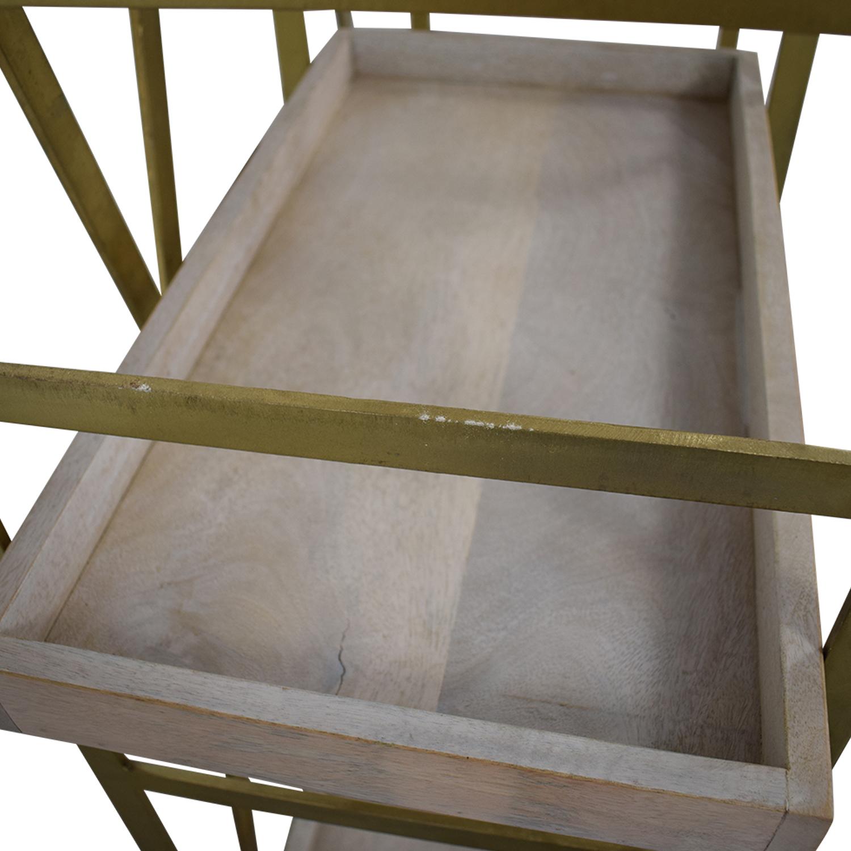 Safavieh Gold & Wood Adjustable Tray Shelf Bookcase / Storage