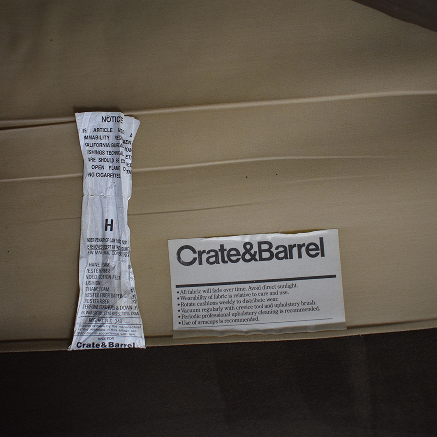 Crate & Barrel Brown Suede Loveseat Crate & Barrel