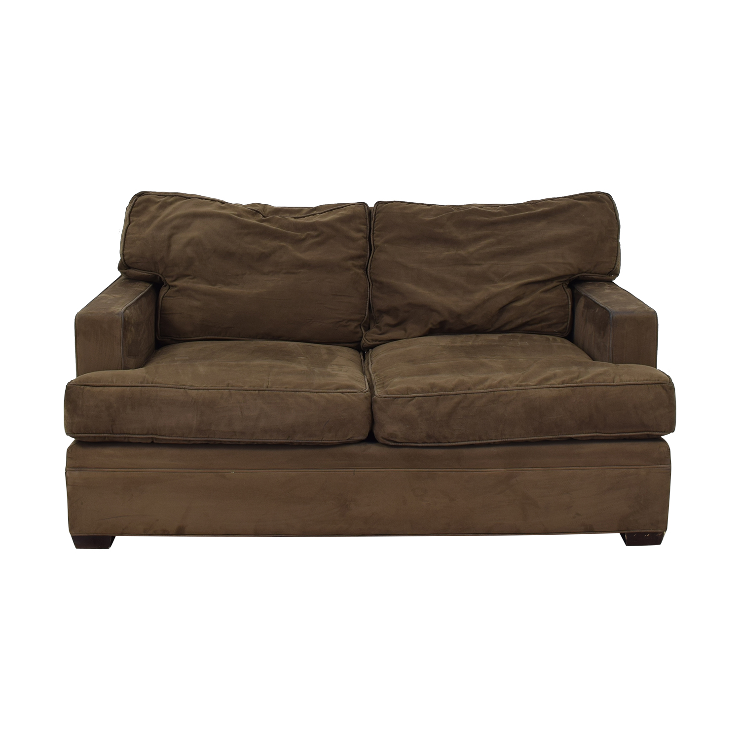 Crate & Barrel Crate & Barrel Brown Suede Loveseat for sale