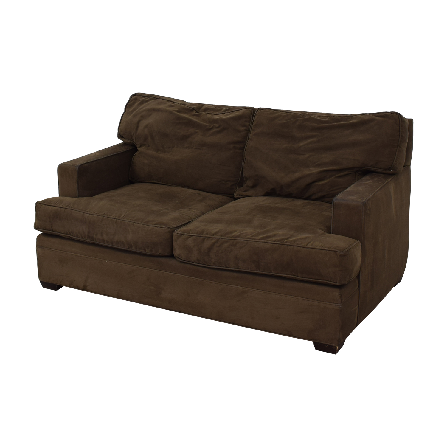 shop Crate & Barrel Brown Suede Loveseat Crate & Barrel Sofas