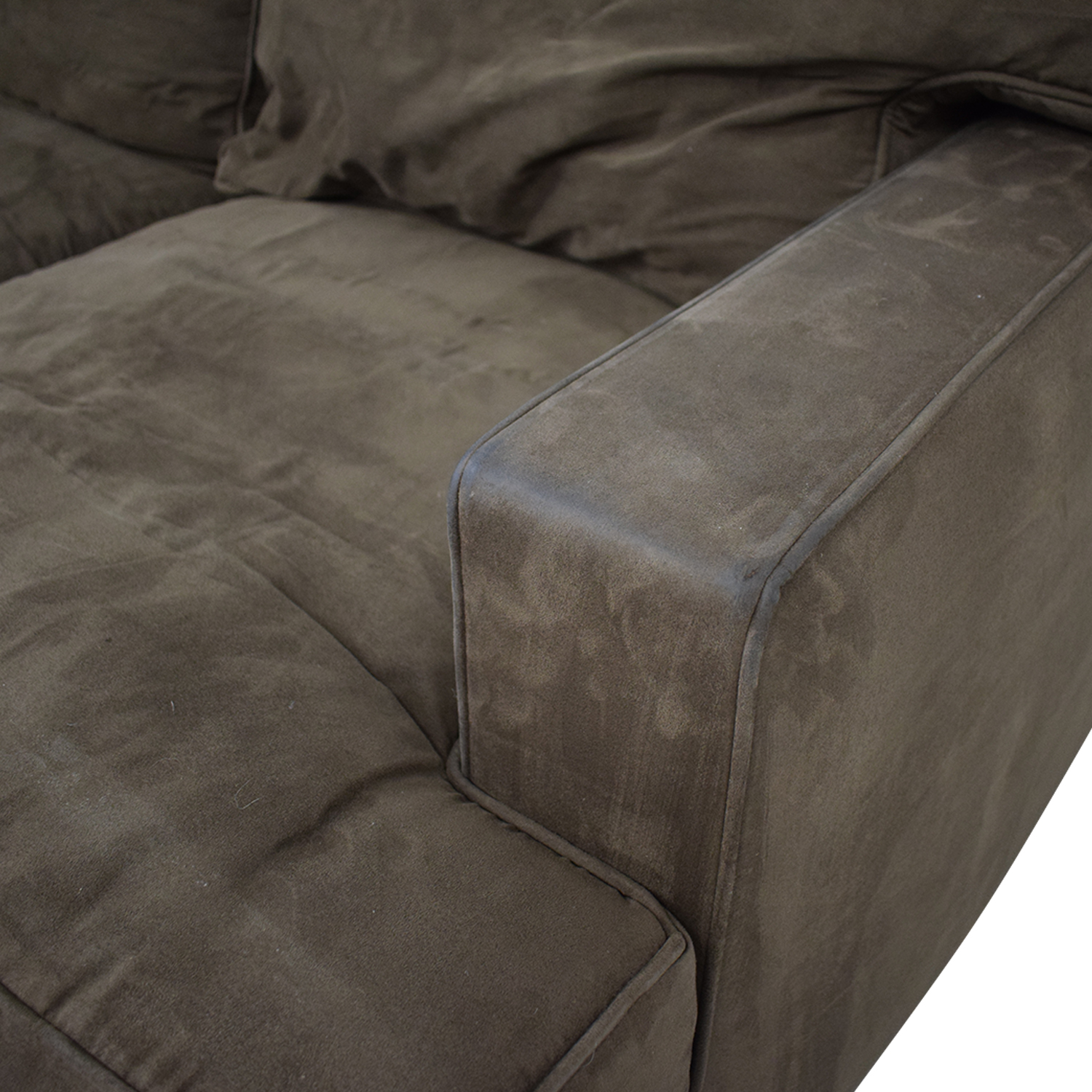 Crate & Barrel Crate & Barrel Brown Suede Loveseat on sale