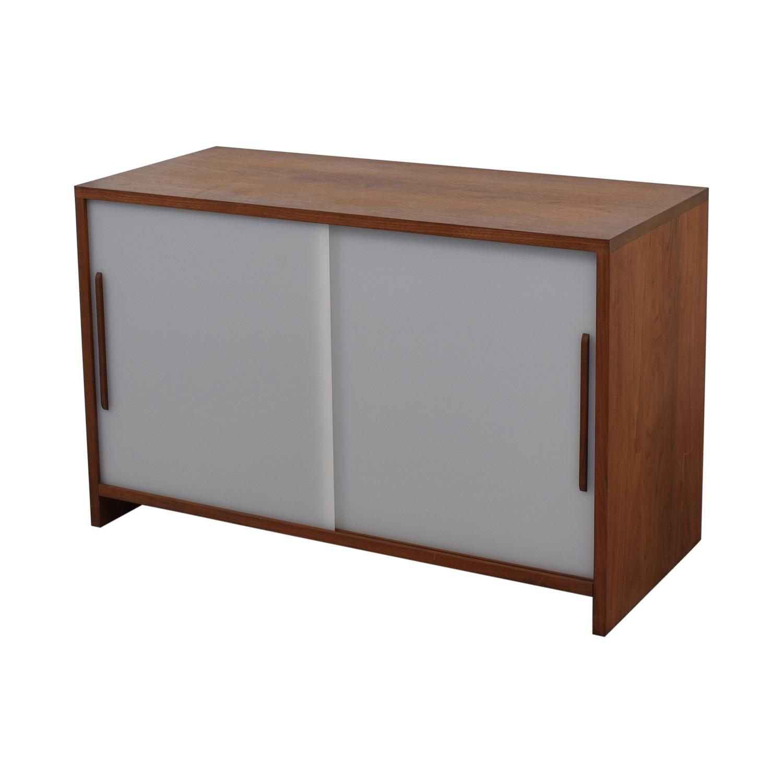 Custom Solid Walnut Cabinet with Sliding Plexiglass Doors and Walnut Handles second hand