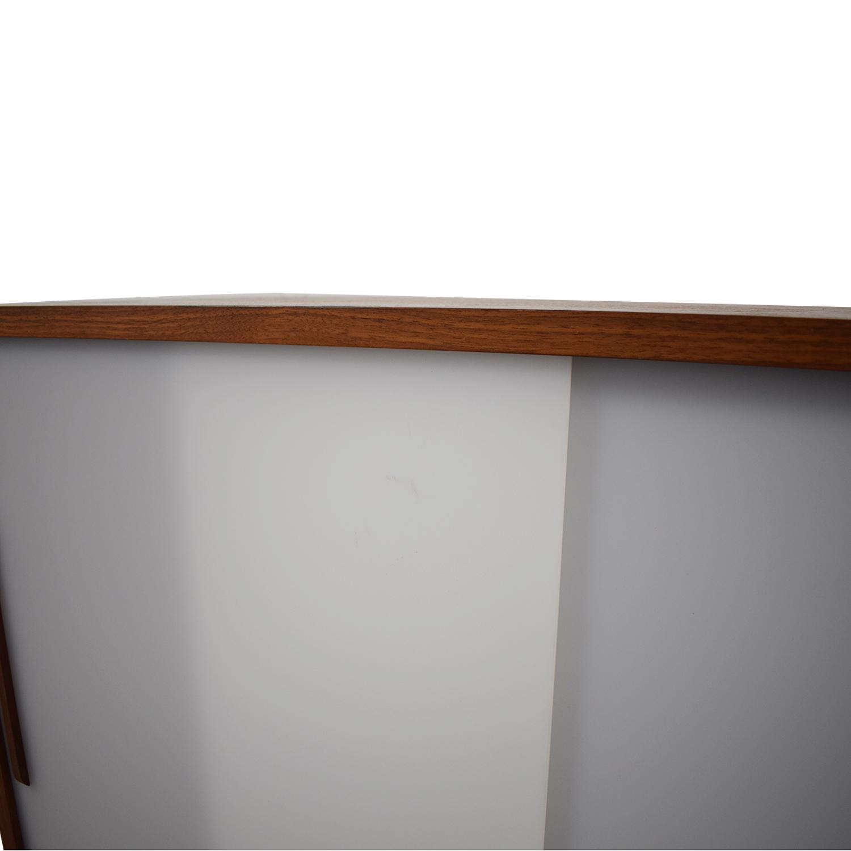Custom Solid Walnut Cabinet with Sliding Plexiglass Doors and Walnut Handles for sale