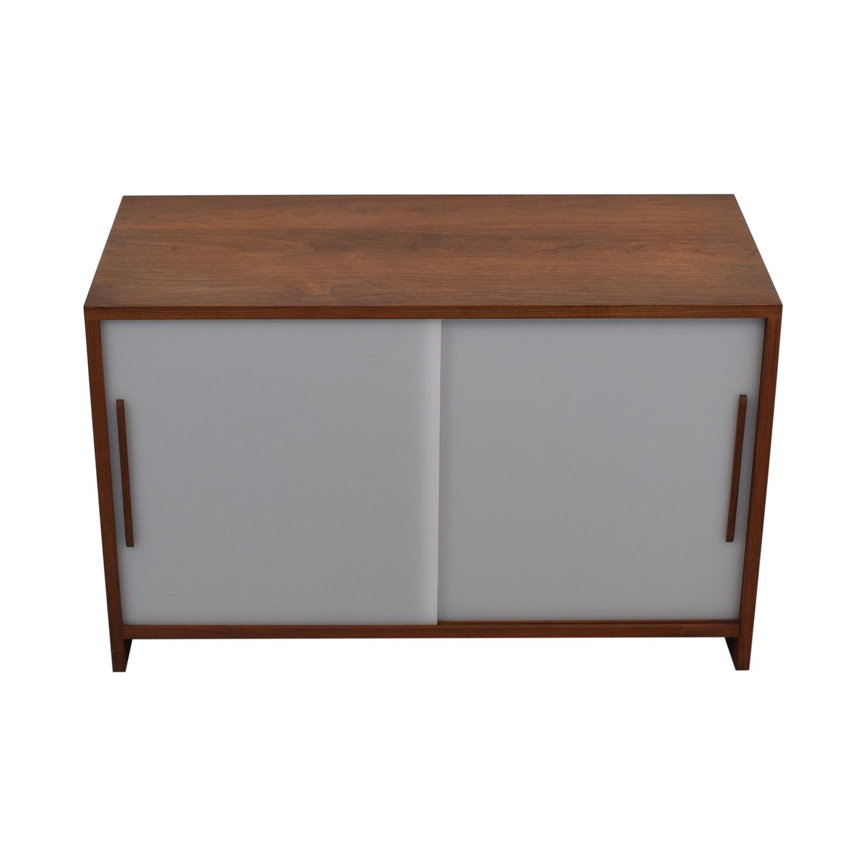 Custom Solid Walnut Cabinet with Sliding Plexiglass Doors and Walnut Handles coupon