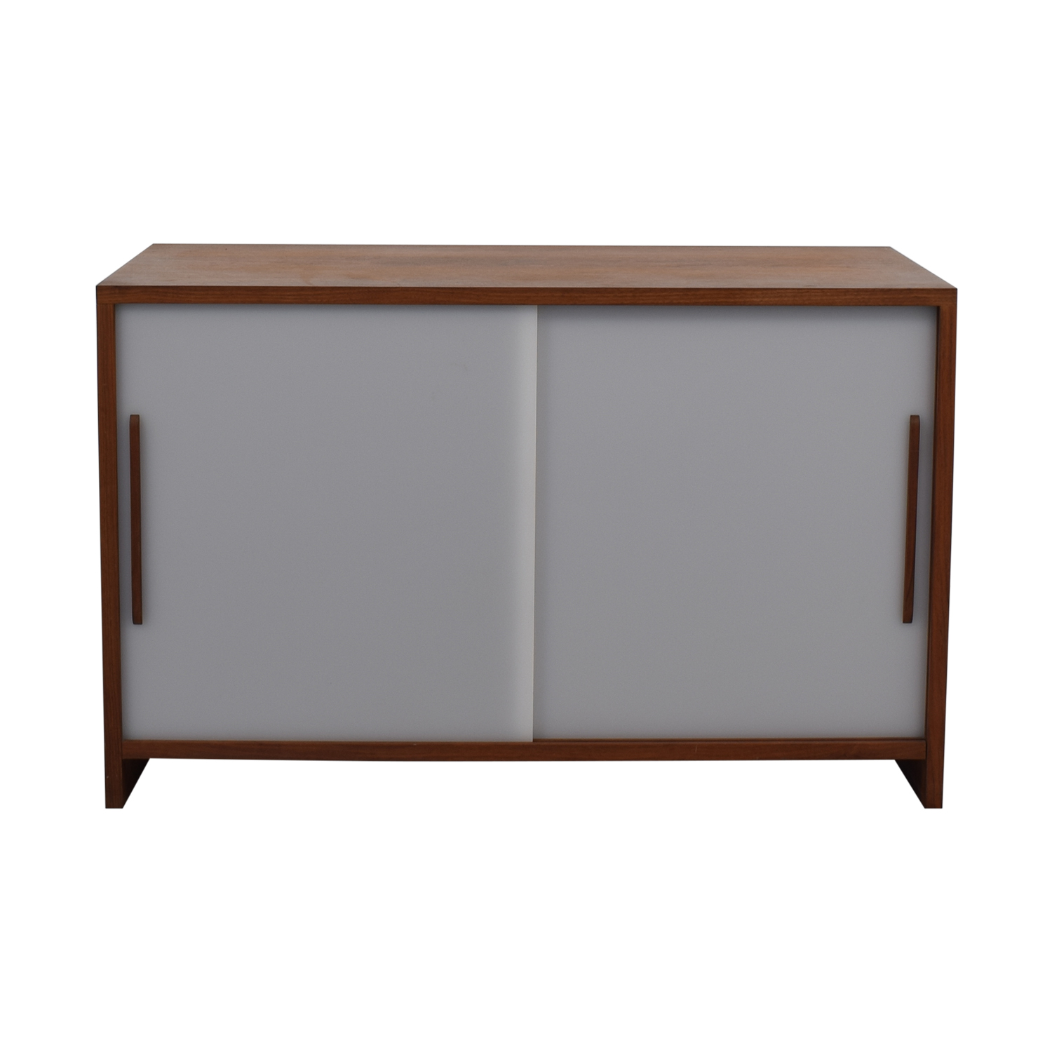 Custom Solid Walnut Cabinet with Sliding Plexiglass Doors and Walnut Handles nyc