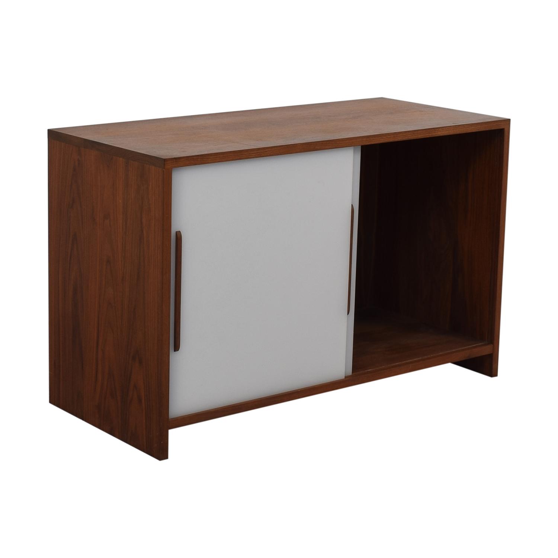 shop Custom Solid Walnut Cabinet with Sliding Plexiglass Doors and Walnut Handles  Storage