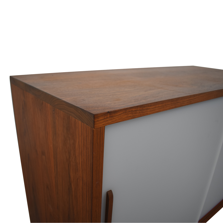 Custom Solid Walnut Cabinet with Sliding Plexiglass Doors and Walnut Handles nyc