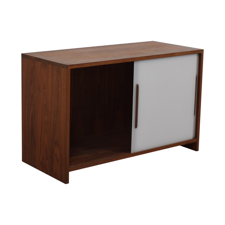 Custom Solid Walnut Cabinet with Sliding Plexiglass Doors and Walnut Handles discount