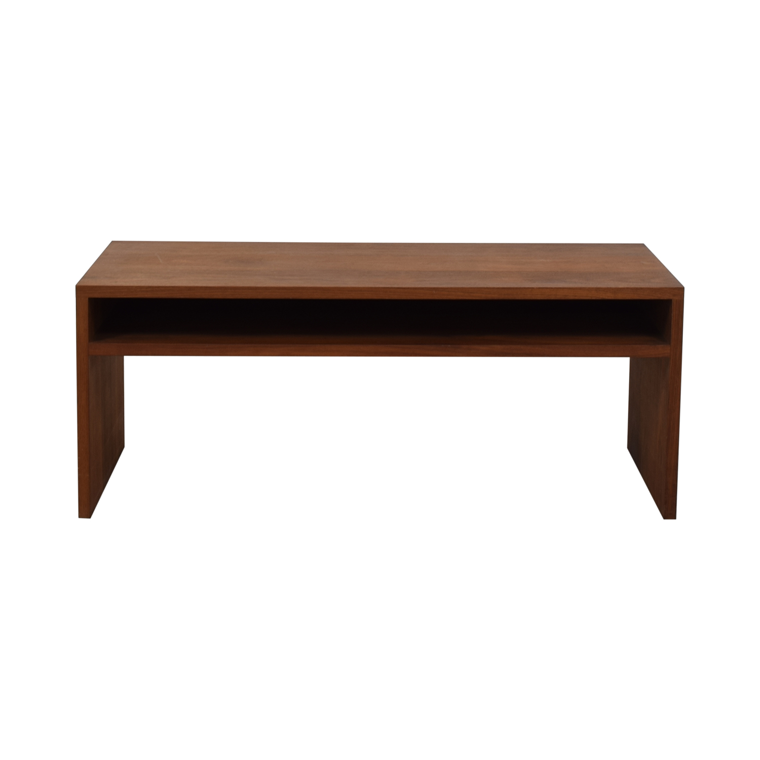 Custom Solid Walnut Coffee Table with Enclosed Shelf Space