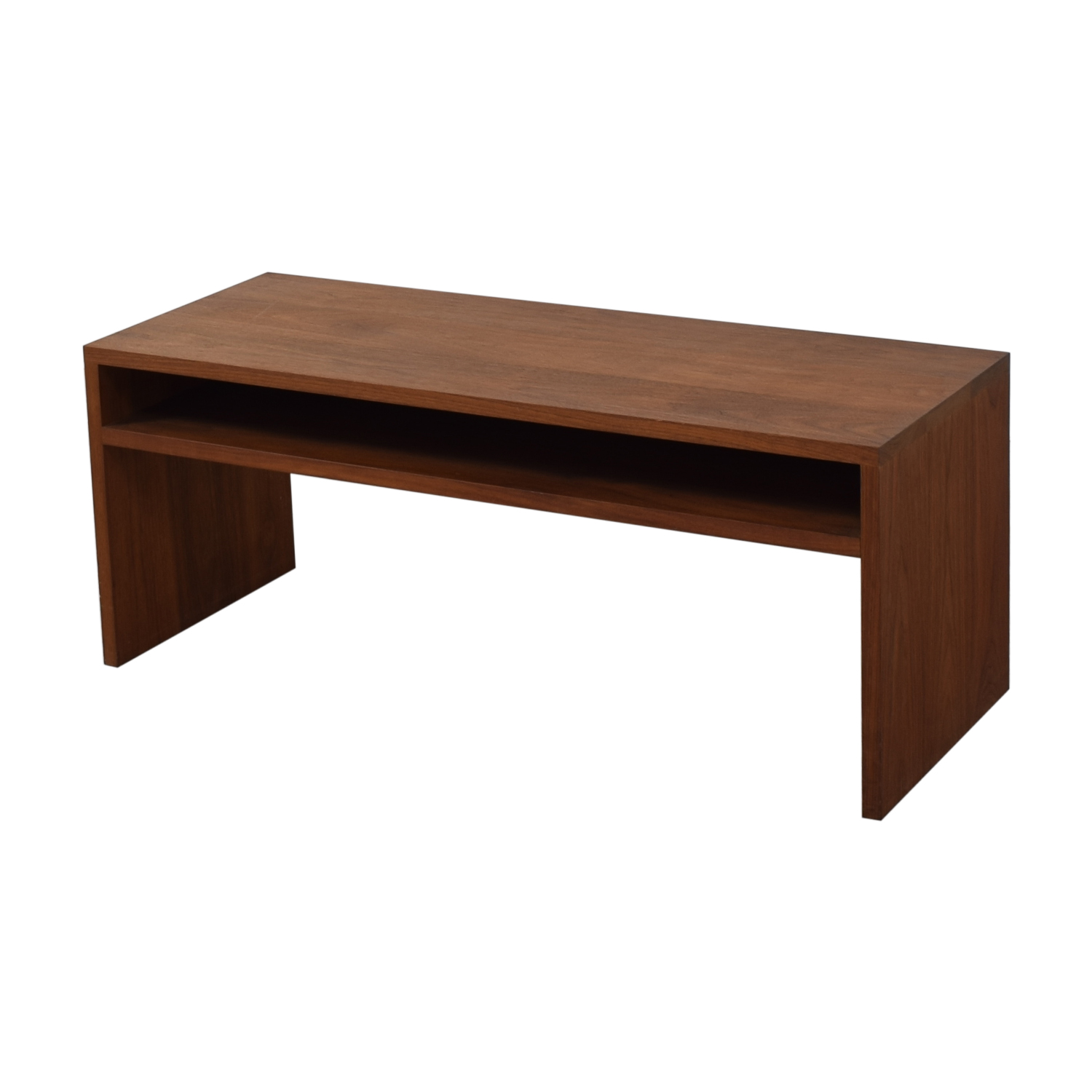 Custom Solid Walnut Coffee Table with Enclosed Shelf Space brown