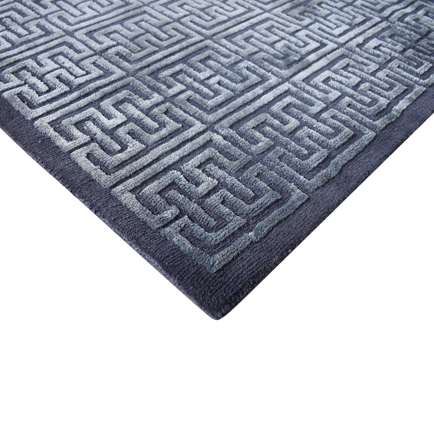 Nitzan Home Nitzan Home Collection Handknotted Silk and Wool Geometric Rug dimensions