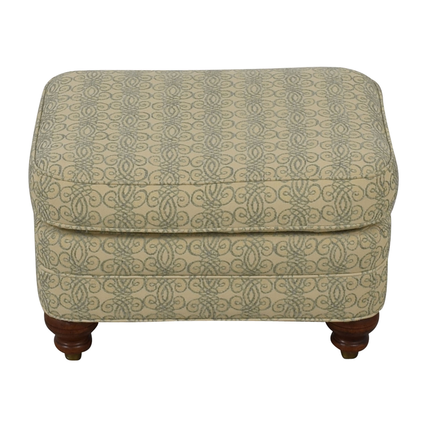 Ethan Allen Print Upholstered Ottoman sale