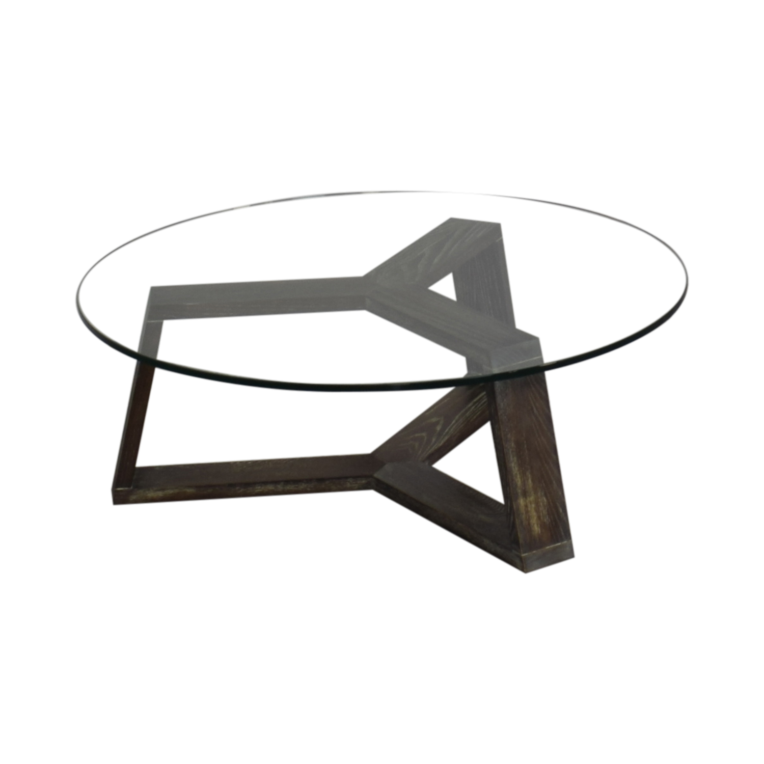 shop CB2 CB2 Round Glass and Wood Coffee Table online