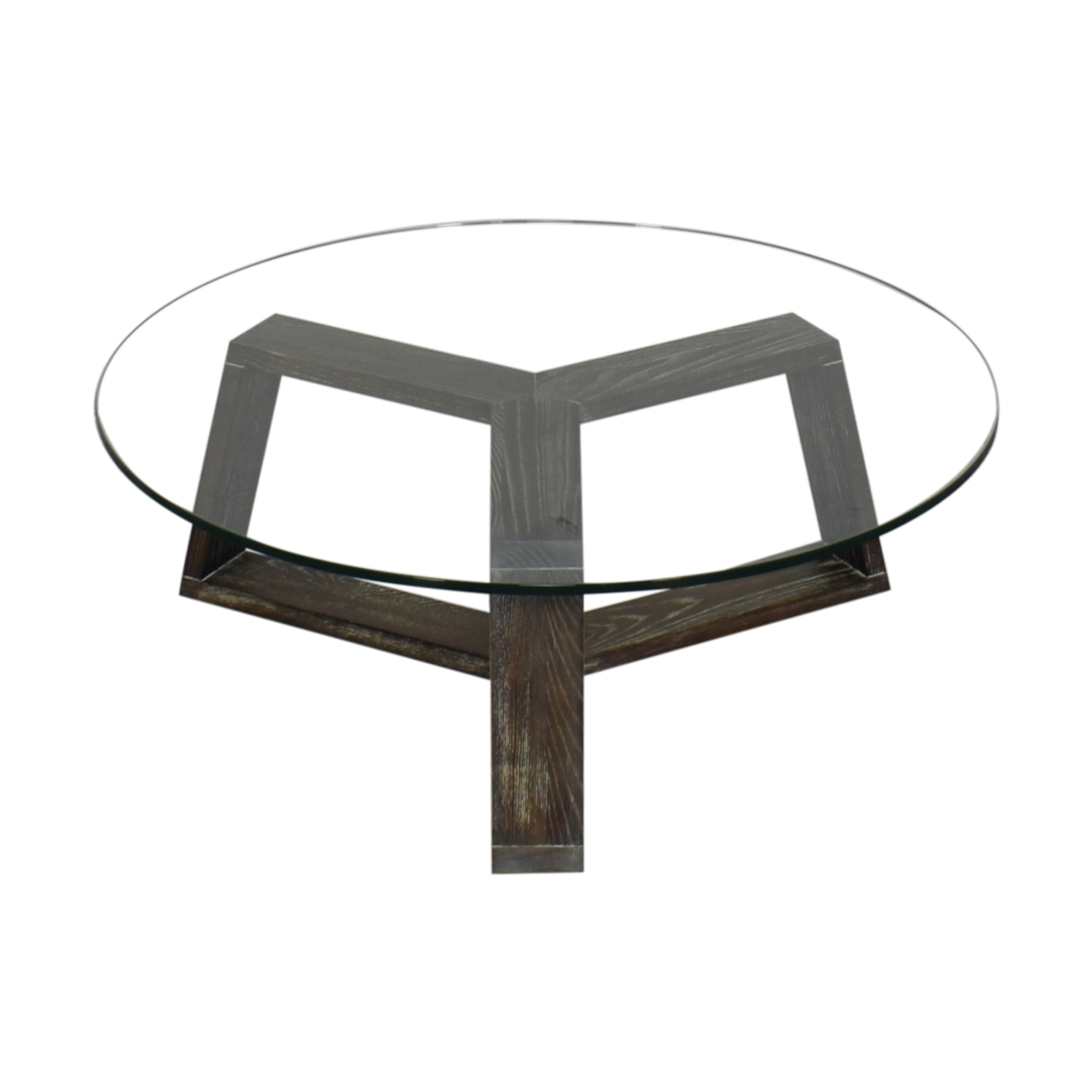 shop CB2 Round Glass and Wood Coffee Table CB2 Tables