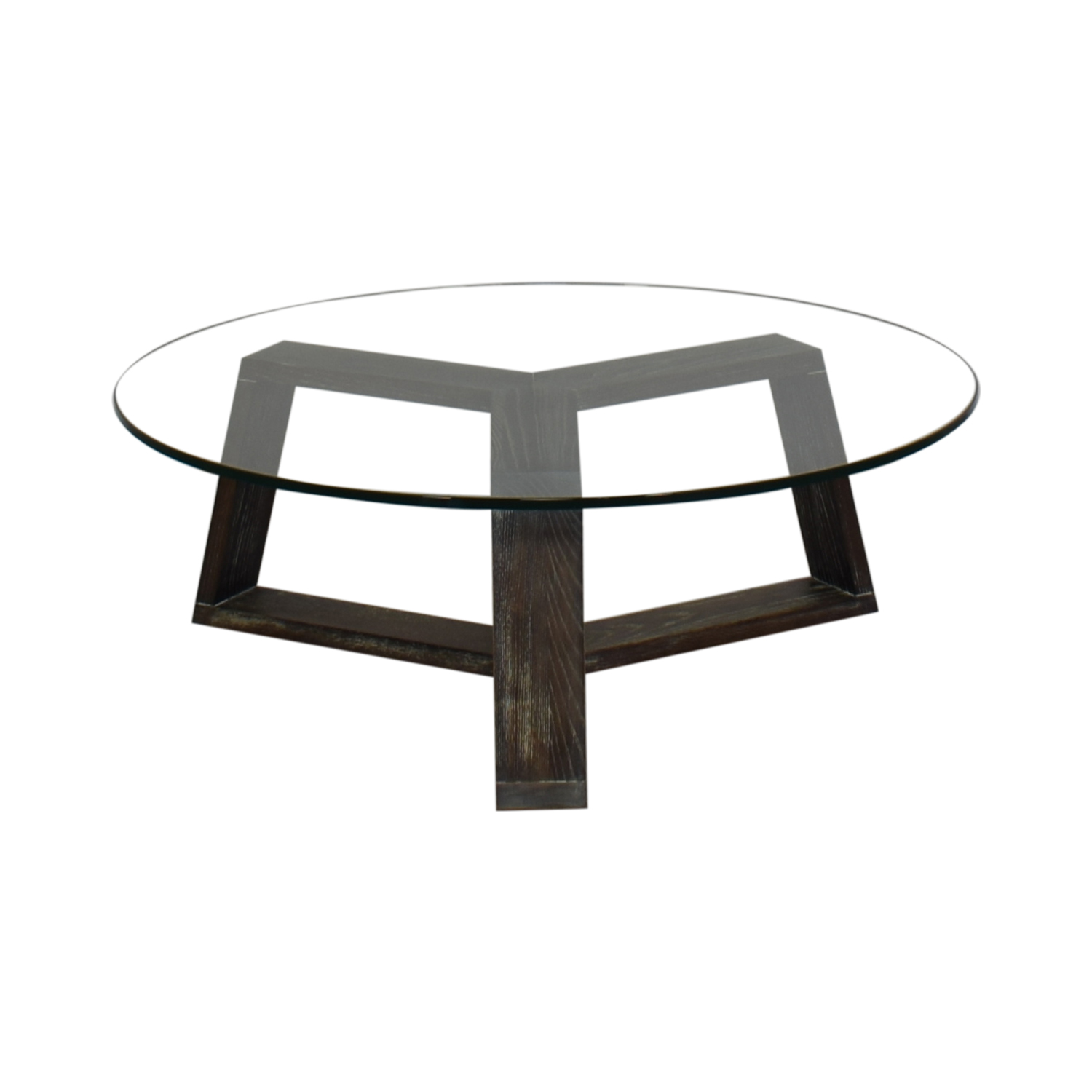 CB2 CB2 Round Glass and Wood Coffee Table Tables