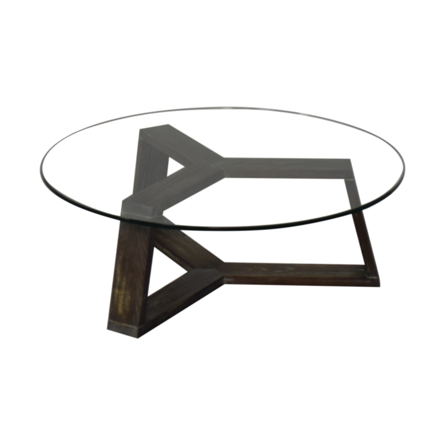 buy CB2 Round Glass and Wood Coffee Table CB2 Tables