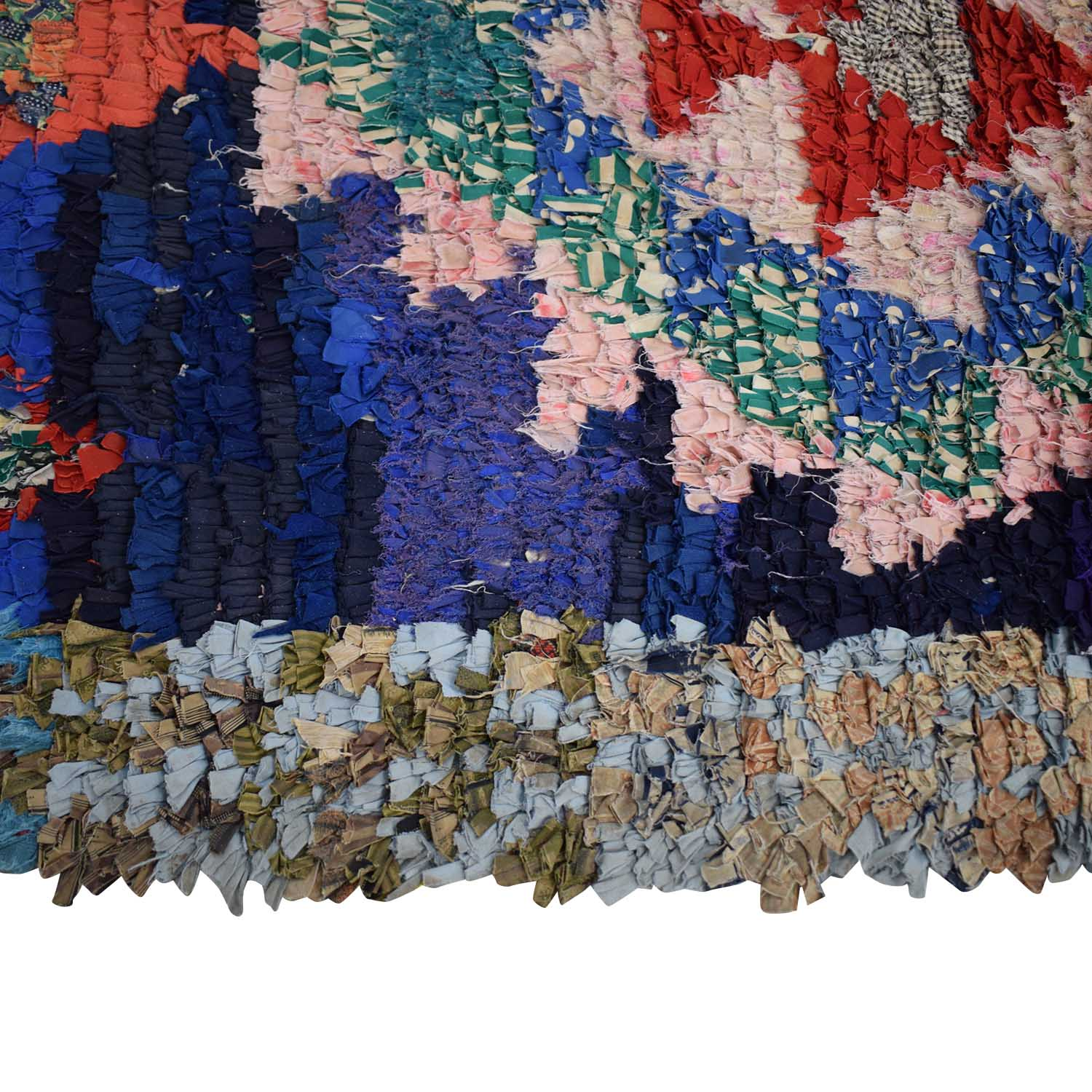 Vintage Moroccan Boucherouite Rag Rug on sale