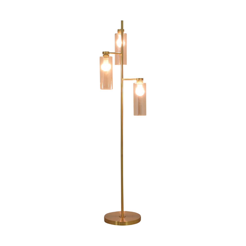 West Elm West Elm Glass Cylinder Floor Lamp gold