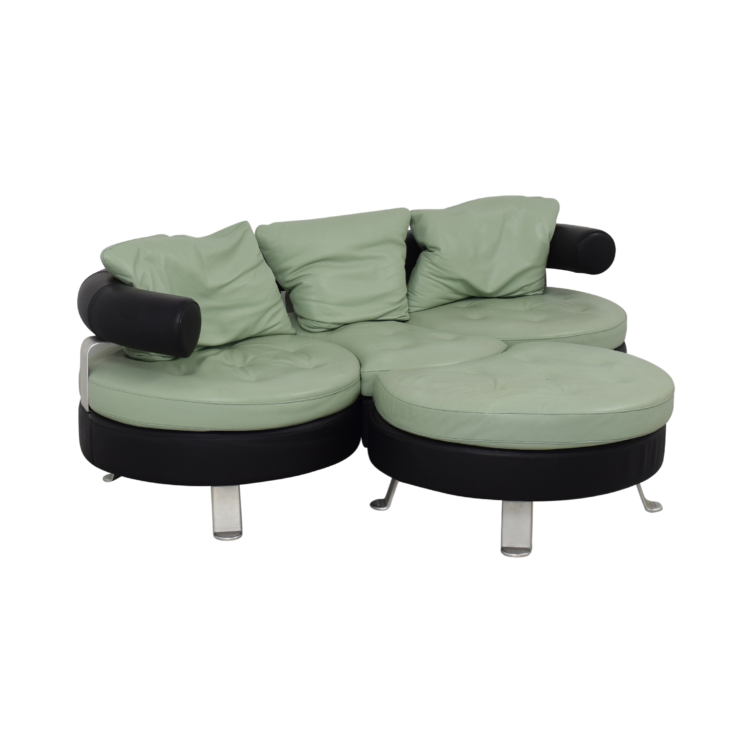 Formenti Formenti Swiveling Sofa with Matching Ottoman black & teal
