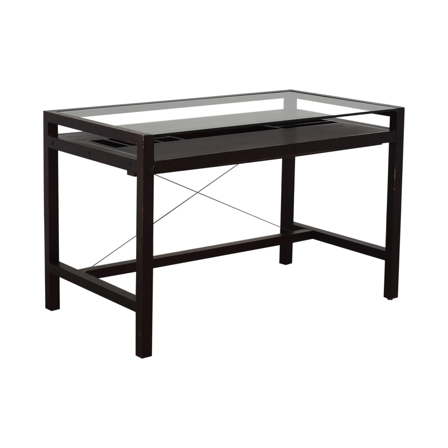 Crate & Barrel Crate & Barrel Glass and Wood Walker Desk Tables