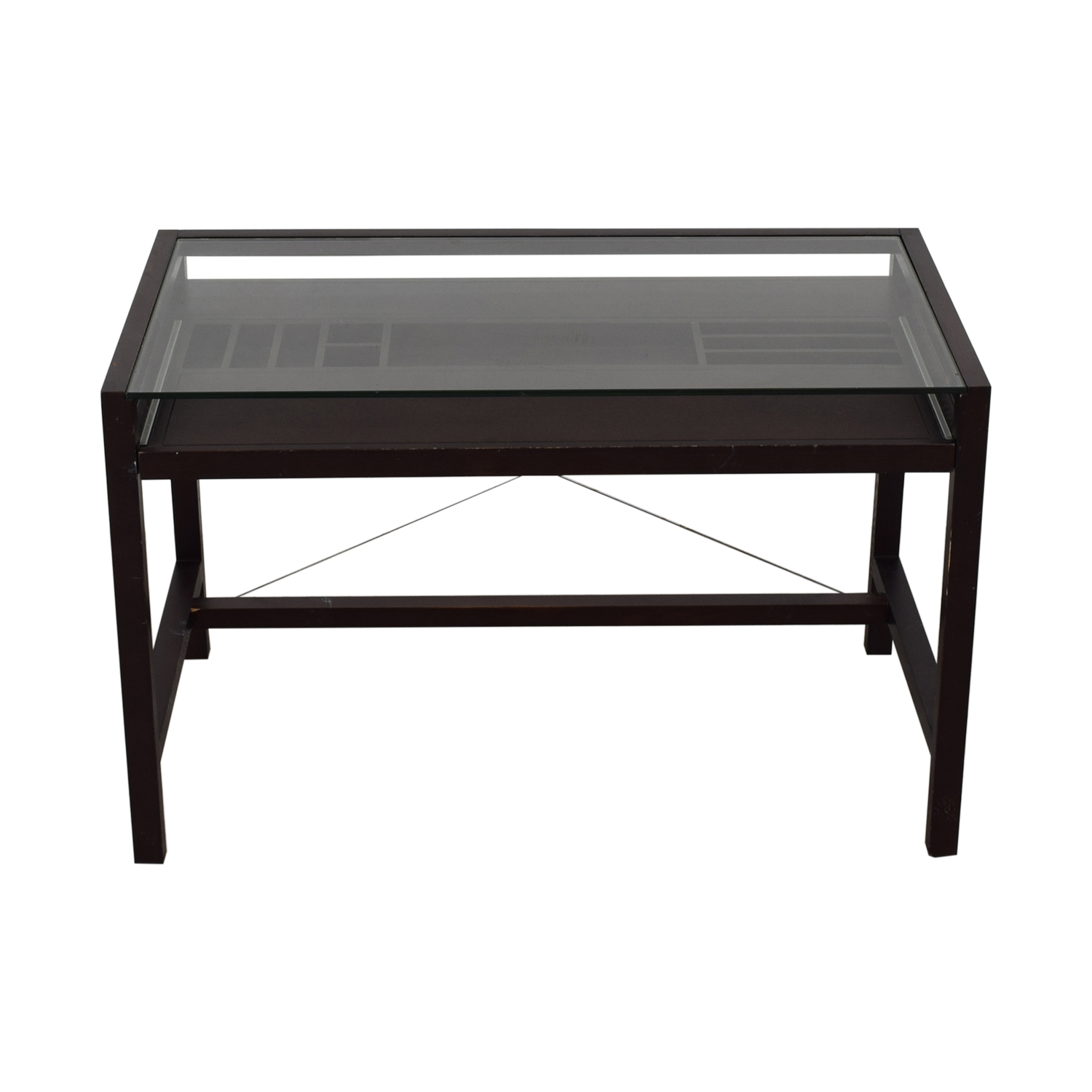 shop Crate & Barrel Glass and Wood Walker Desk Crate & Barrel Tables