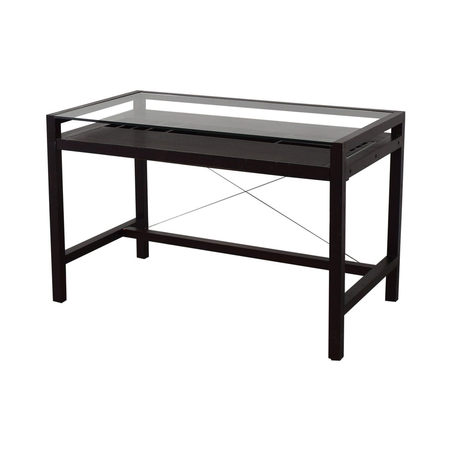 Crate & Barrel Crate & Barrel Glass and Wood Walker Desk for sale