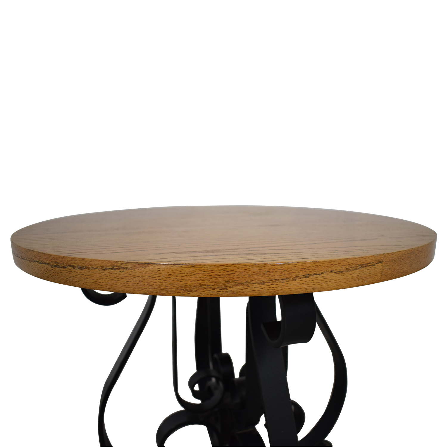 Round End Table drown & black
