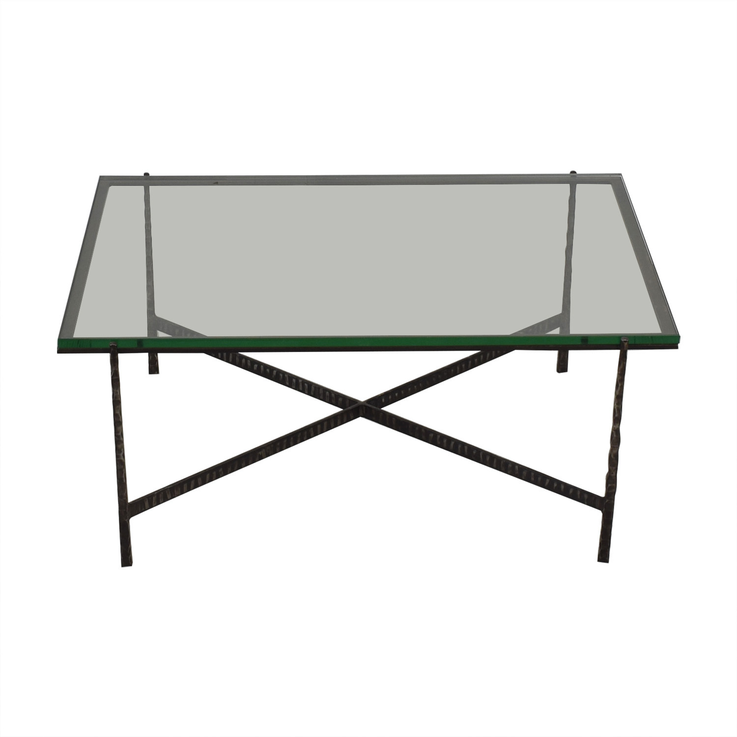 Crate & Barrel Glass Top Coffee Table sale