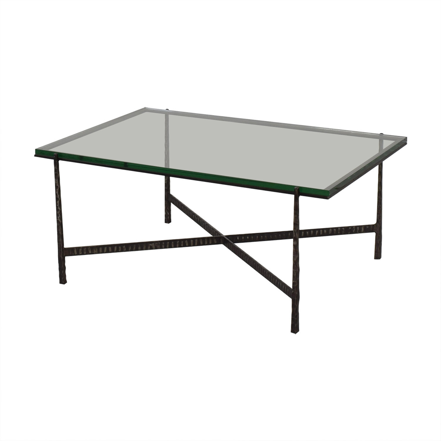 Crate & Barrel Glass Top Coffee Table / Tables