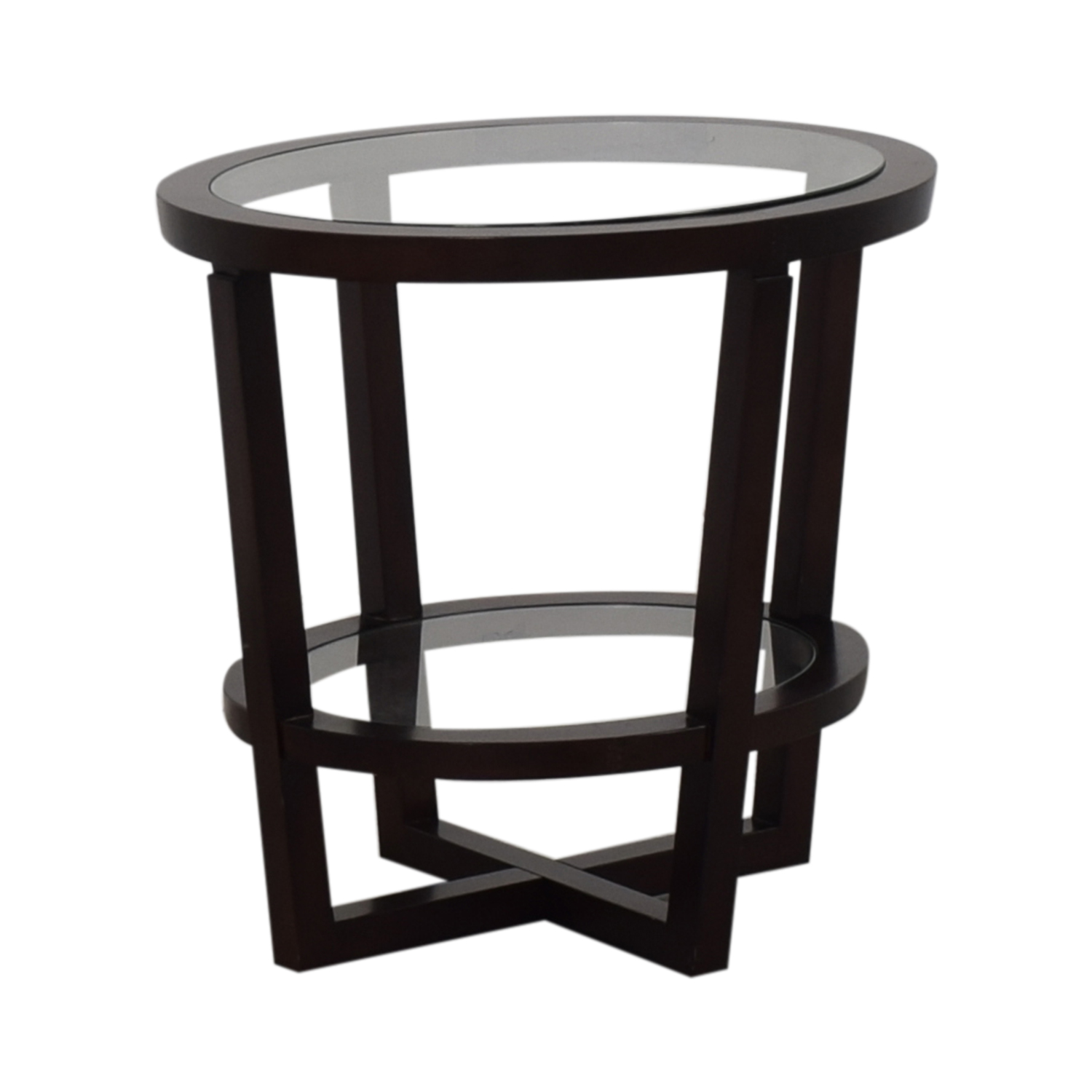 Bloomingdale's Glass and Wood End Table Bloomingdale's