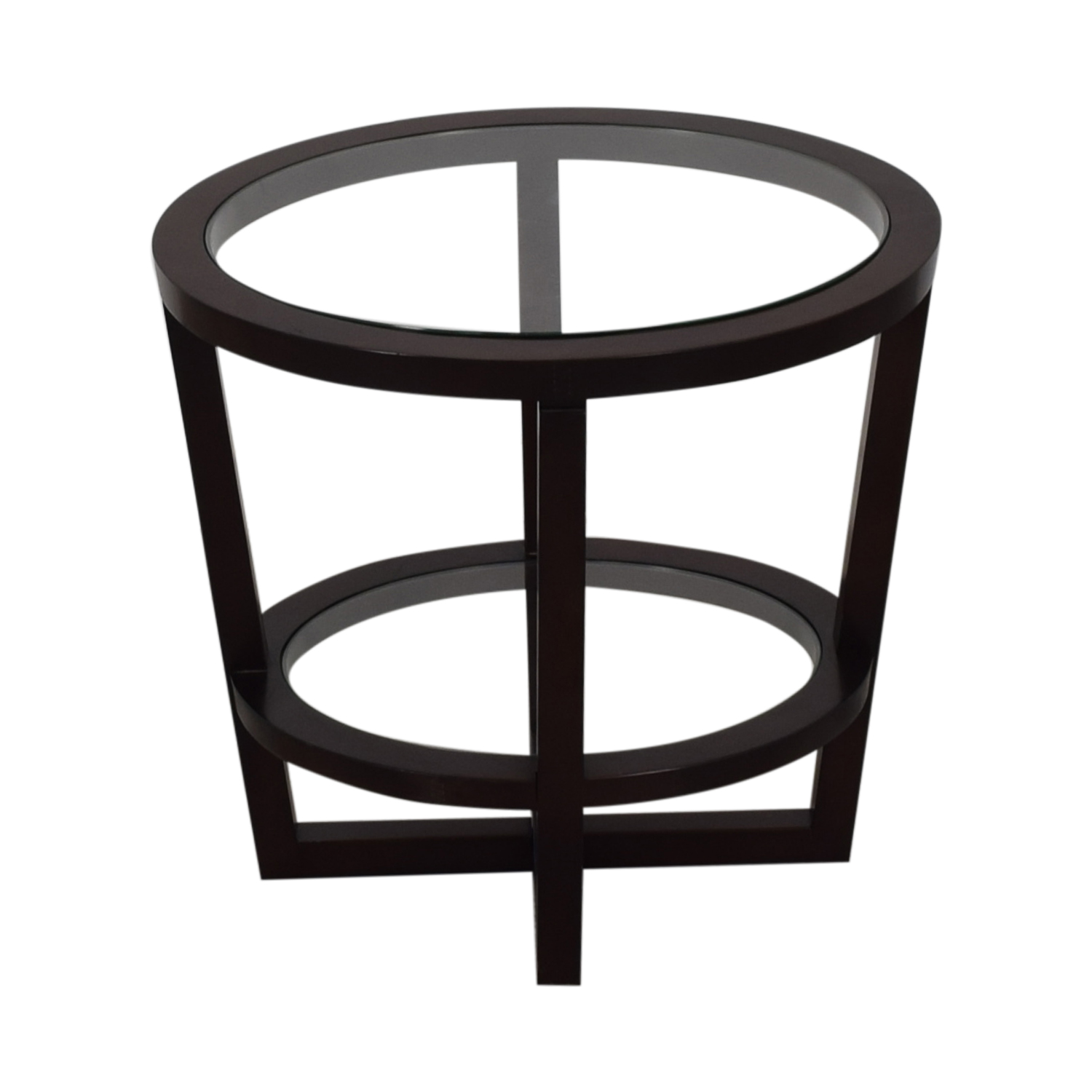 buy Bloomingdale's Glass and Wood End Table Bloomingdale's