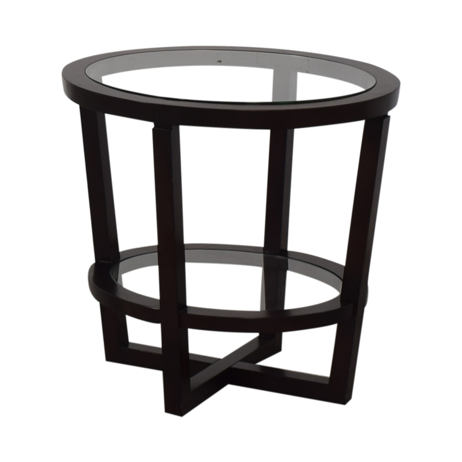 shop Bloomingdale's Glass and Wood End Table Bloomingdale's Tables