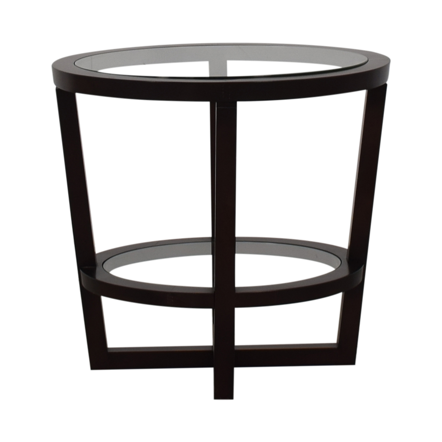 Bloomingdale's Bloomingdale's Glass and Wood End Table for sale