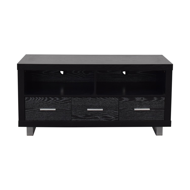 shop Coaster Black Three-Drawer Media Cabinet Coaster Fine Furniture