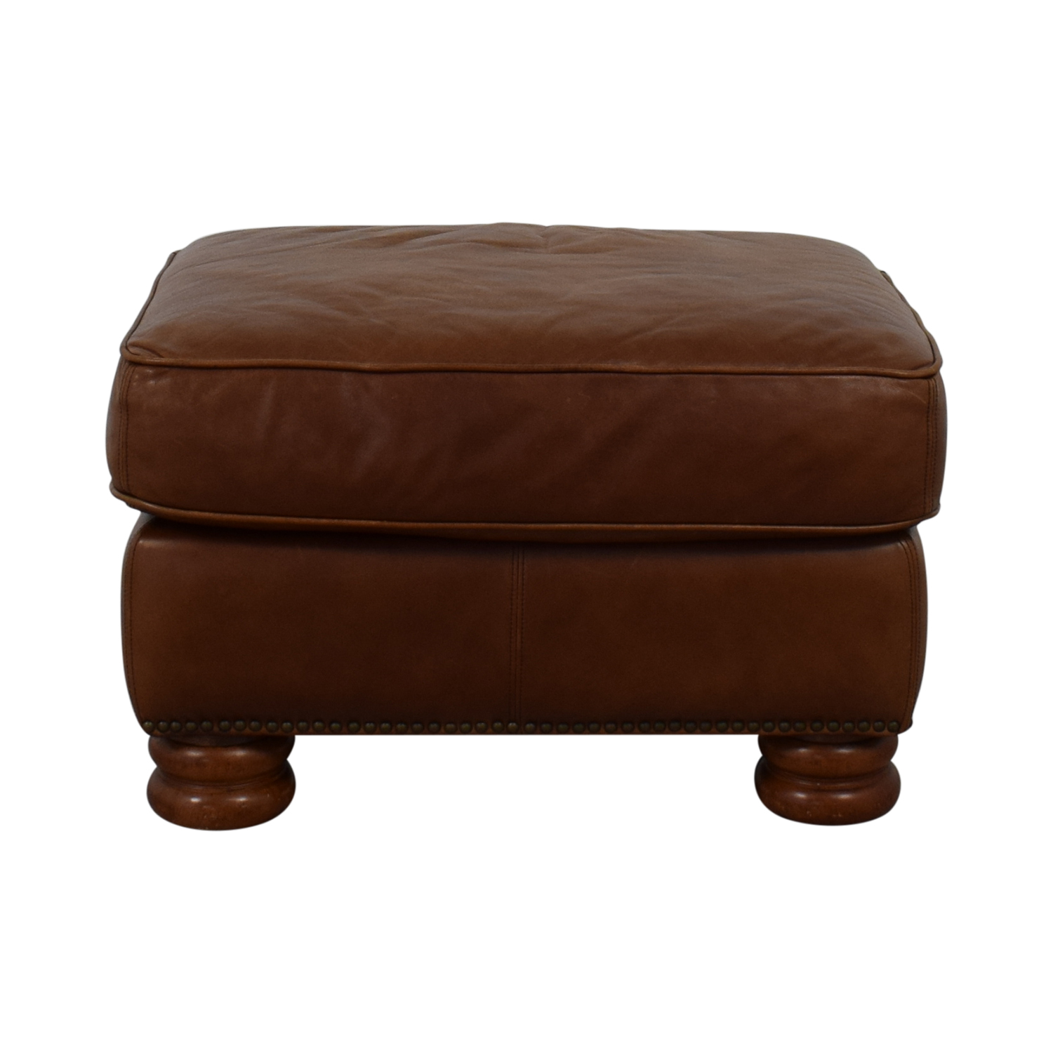 shop Thomasville Brown Leather Ottoman Thomasville Ottomans