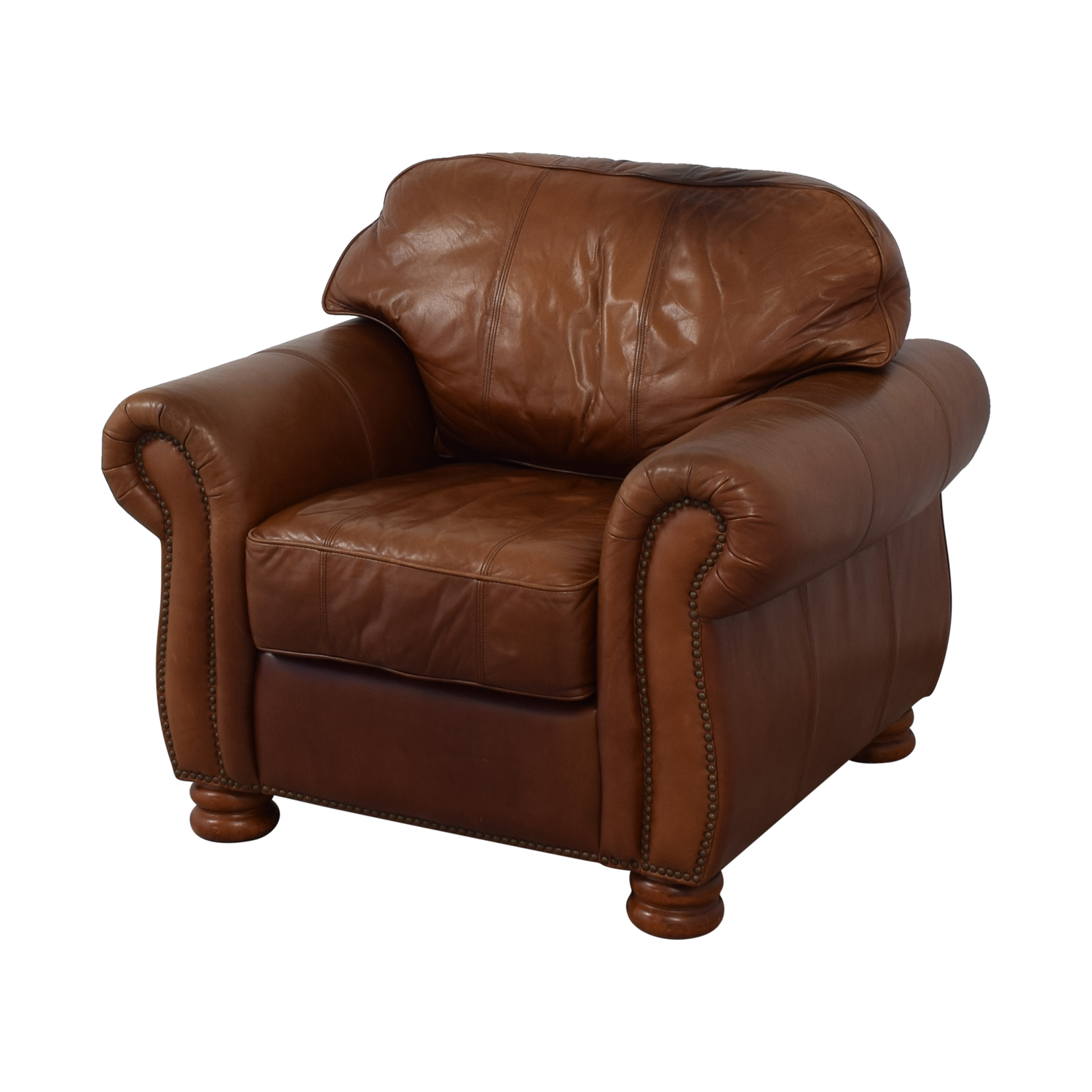 - 90% OFF - Thomasville Thomasville Leather Sofa Chair / Chairs
