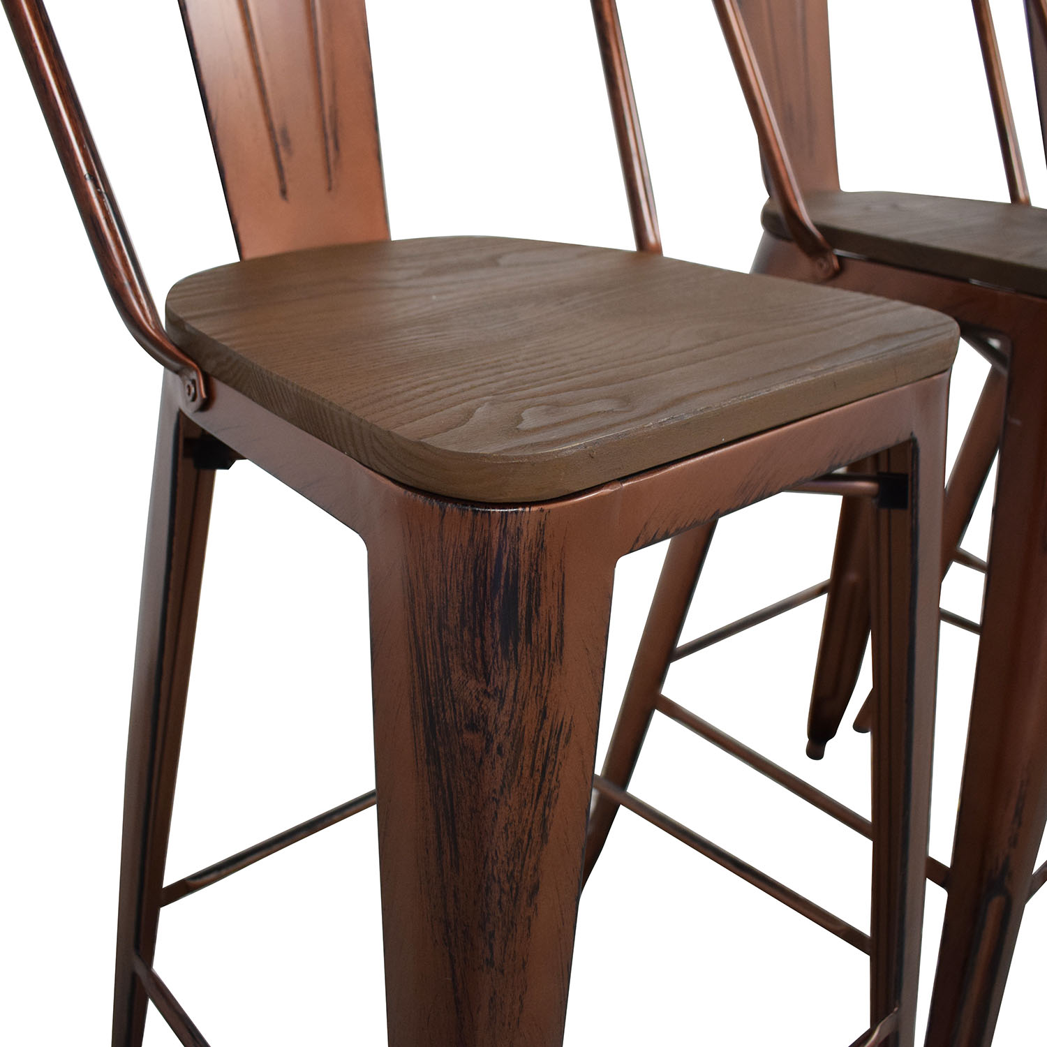Overstock Overstock Tabouret Wood Seat Brushed Copper Bistro Bar Stools price