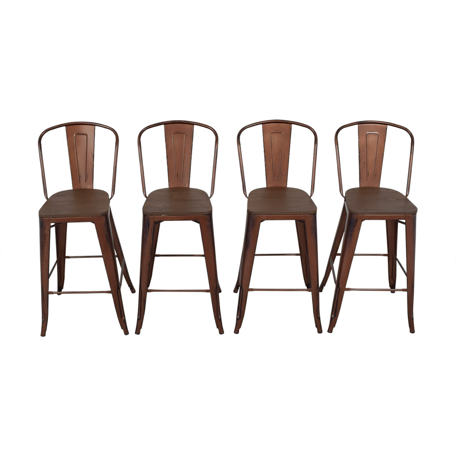 Overstock Overstock Tabouret Wood Seat Brushed Copper Bistro Bar Stools coupon