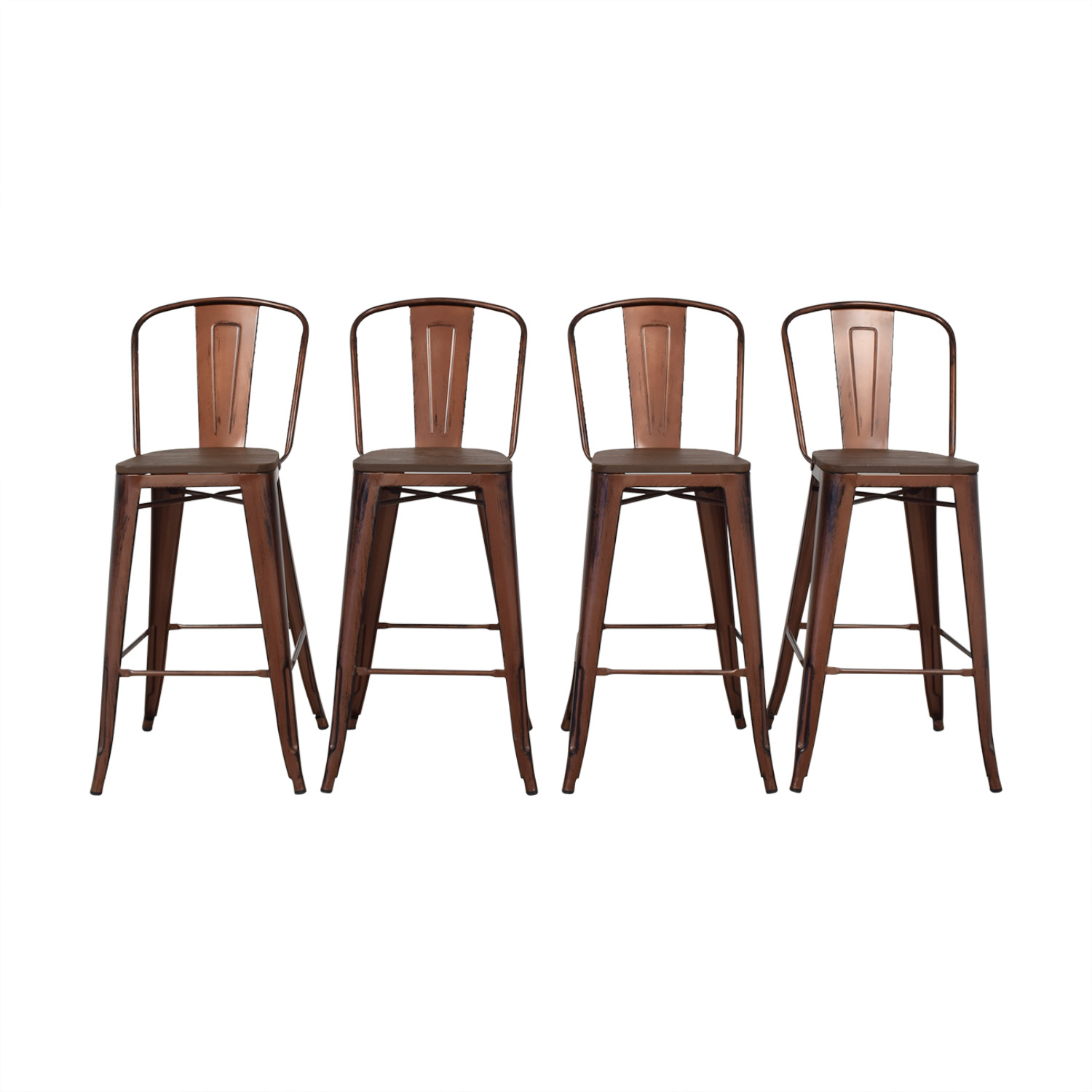 Overstock Overstock Tabouret Wood Seat Brushed Copper Bistro Bar Stools nyc
