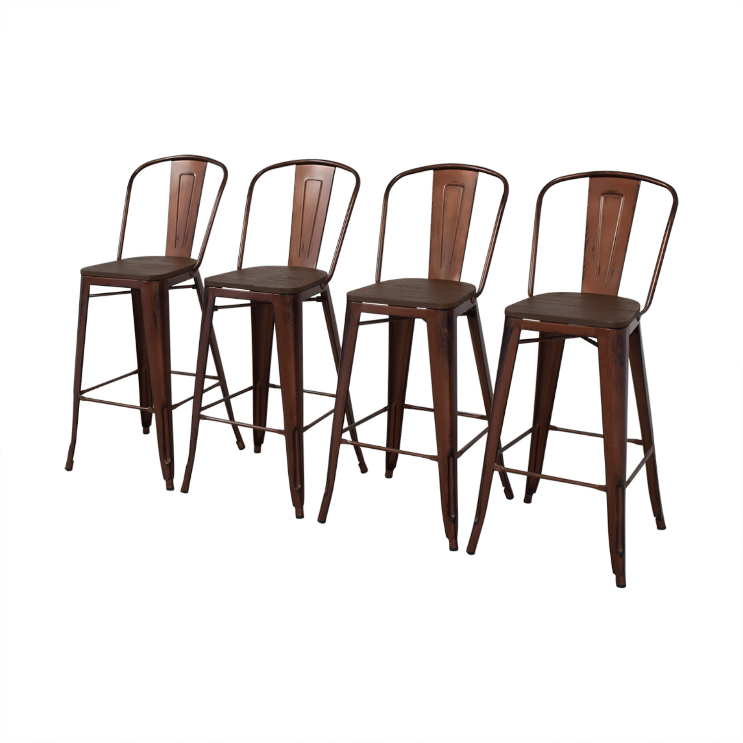 Overstock Overstock Tabouret Wood Seat Brushed Copper Bistro Bar Stools dimensions