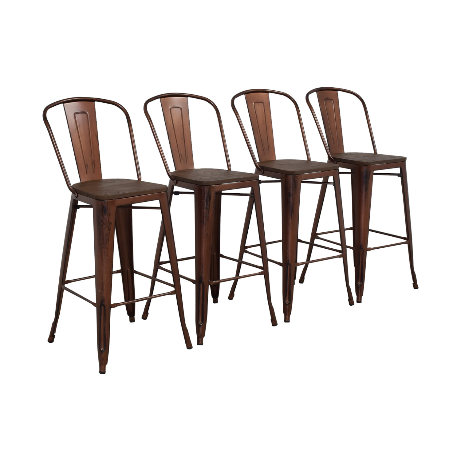 Overstock Tabouret Wood Seat Brushed Copper Bistro Bar Stools sale