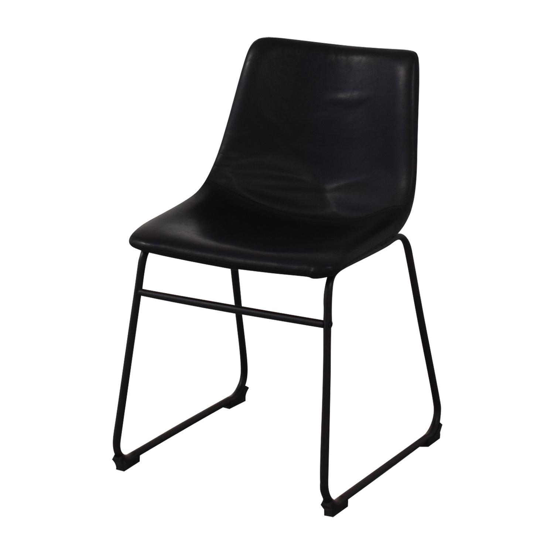 Walker Edison Walker Edison Industrial Faux Leather Dining Chair for sale