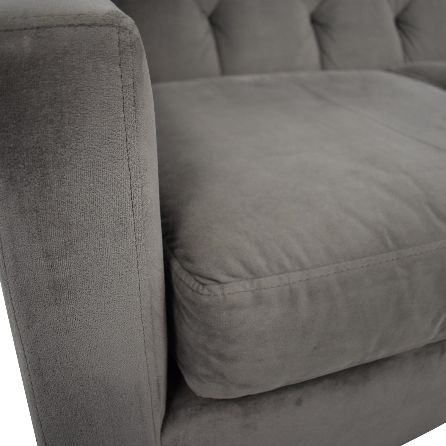 Max Home Max Home Velvet Grey Tufted Sofa on sale