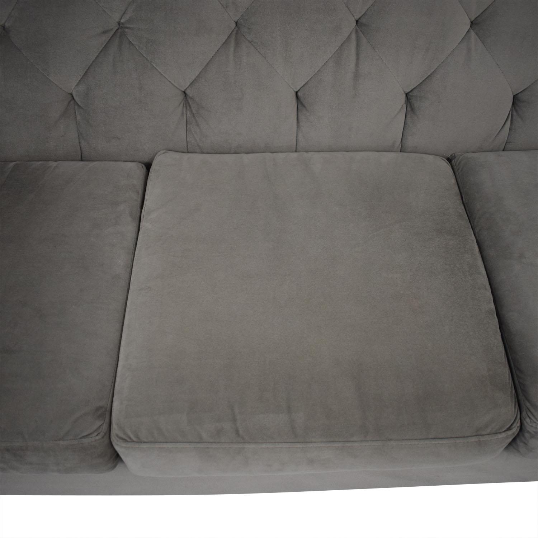 shop Max Home Velvet Grey Tufted Sofa Max Home Sofas