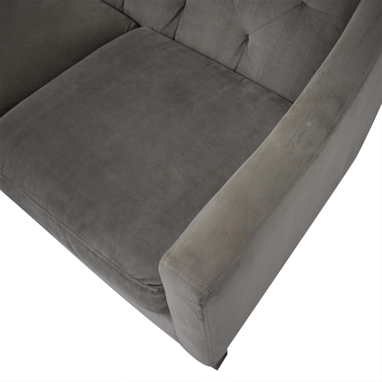 Max Home Velvet Grey Tufted Sofa / Sofas