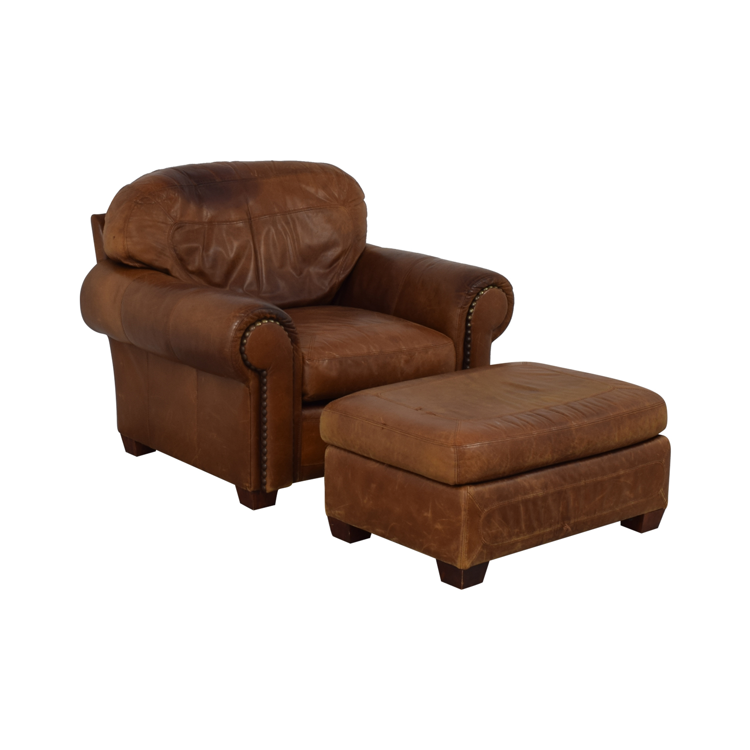 shop Stickley Cibola Brown Leather Armchair and Ottoman Stickley Furniture Chairs